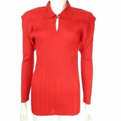 【中古】プリーツプリーズ PLEATS PLEASE プリーツシャツ スキッパーカットソー プルオーバー 4 赤 PP04-JK606 ECR