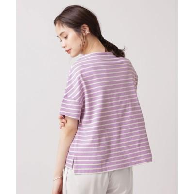 WEB限定/ボーダーワイドドロップTシャツ 半袖 L.パープル1