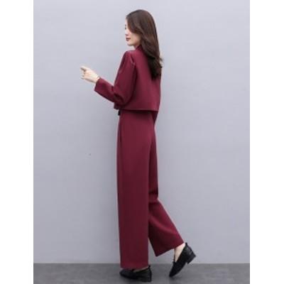 韓国 ファッション レディース セットアップ パンツスーツ テーラードジャケット テーラードパンツ  ワイドパンツ レッド グレー ゆった