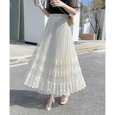 スカート レース刺繍チュールエアリーロングスカート