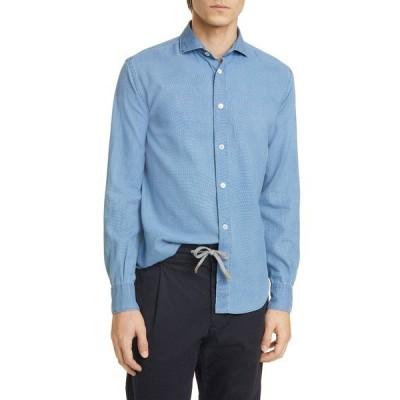 イレブンティ シャツ トップス メンズ Slim Fit Chambray Button-Up Shirt Blue