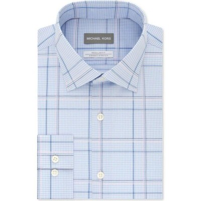 マイケル コース Michael Kors メンズ シャツ Classic/Regular-Fit Non-Iron Airsoft Performance Stretch Blue Cloud Multi-Check Dress Shirt Blue Cloud