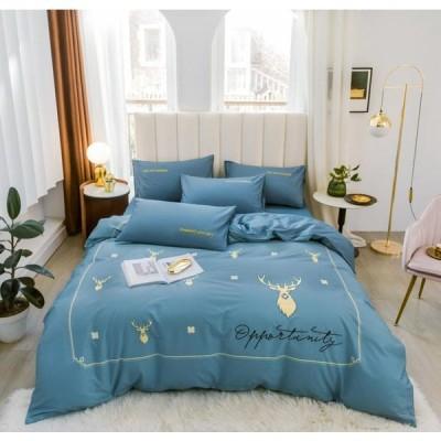 北欧調柄 掛け布団カバー 4点セット 敷き布団カバー 綿100% 植物柄|掛け布団カバー 1点|シーツ 1点|枕カバー 2点|a16