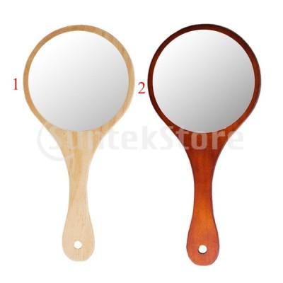 化粧ミラー 化粧鏡 メイクミラー 手持ち 木製ハンドル 携帯便利 アンティーク風 全2色