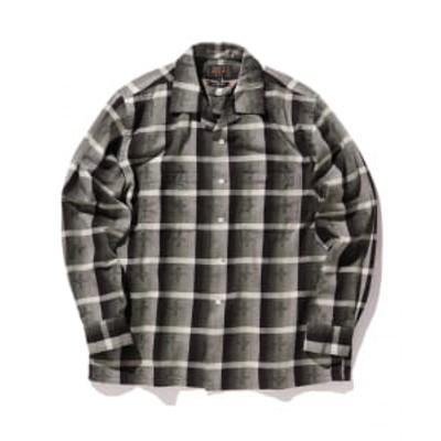 BEAMS PLUS /ドビー オンブレチェック  オープンカラーシャツ