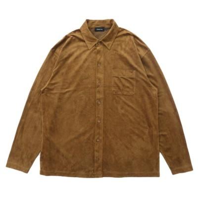 フェイクスウェード ボックスシャツ 長袖 ブラウン サイズ表記:--