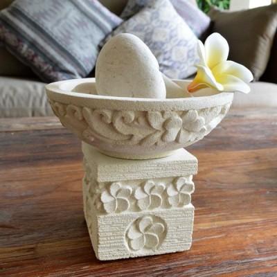 バリ雑貨 アジアン雑貨 インテリア プルメリア 器 睡蓮鉢 フラワーベース 石彫り 置物 ストーン 彫刻 ガーデニング A