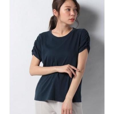 Leilian PLUS HOUSE / レリアンプラスハウス ギャザー袖Tシャツ