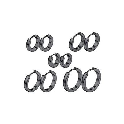 ChainsPro ステンレス ピアス メンズ 人気 リングピアス レディース ブラック 5ペア/セット 直径7/9/12/14/16mm 幅3mm