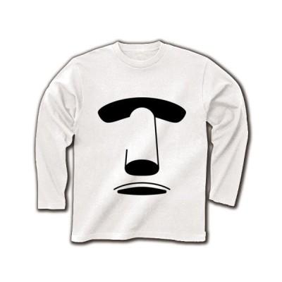 モアイ像 長袖Tシャツ(ホワイト)