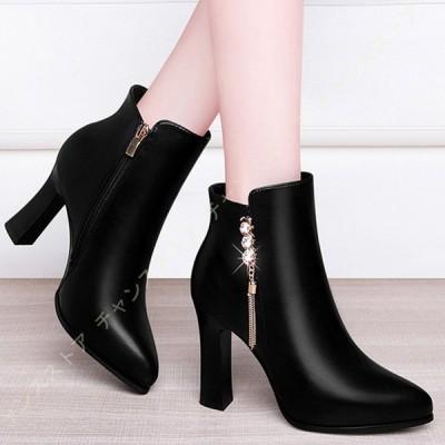 ショートブーツ レディース ブーツ ヒール ショート ヒールブーツ ブーティ ブーティー 黒 履きやすい ピンヒールブーツ 大きいサイズ 靴 とんがりトゥ 長時間