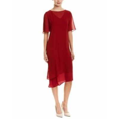 Red  ファッション ドレス Hone Year Silk-Blend Shift Dress 4-6 Red