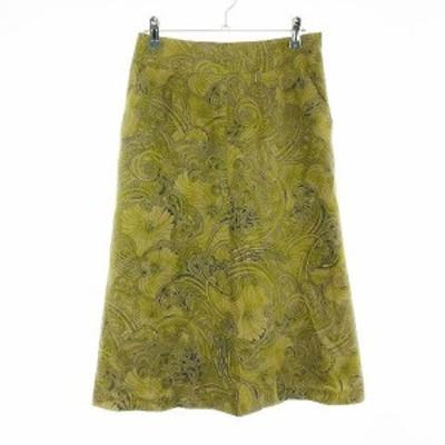 【中古】ジョルジュ リッチ GEORGES RECH スカート フレア ロング コーデュロイ 総柄 40 茶 ブラウン /CK レディース
