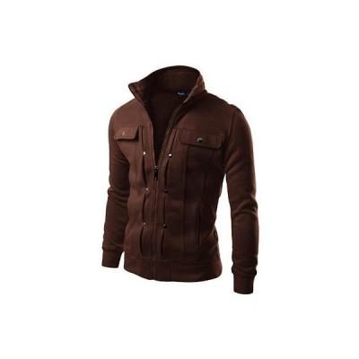 コート ジャケット アウター 防寒 海外セレクション Doublju 0355 メンズ ブラウン Fleece ジップ Front ハイ Neck ジャケット Outerwear L