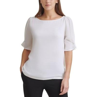 ダナ キャラン ニューヨーク カットソー トップス レディース Imitation-Pearl-Trim Elbow-Sleeve Top Linen White