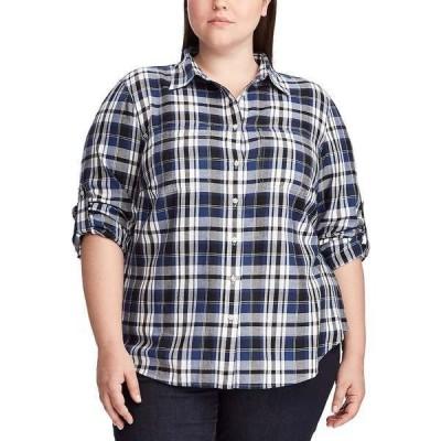 ラルフローレン カットソー トップス レディース Plus Size Plaid Roll Tab Button-Down Shirt Black/Blue Multi
