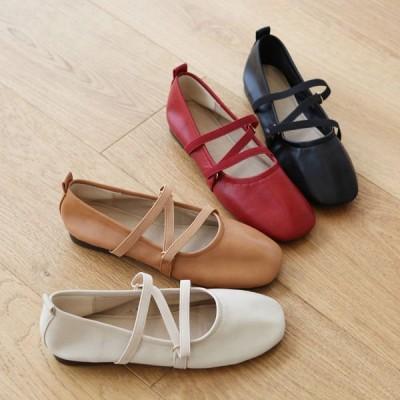 パンプス バレエシューズ フロントストラップ フラット レディース ぺたんこ ペタンコ 靴 ブラック ブラウン ベージュ レッド 黒 赤 茶色 婦人靴 歩きやすい