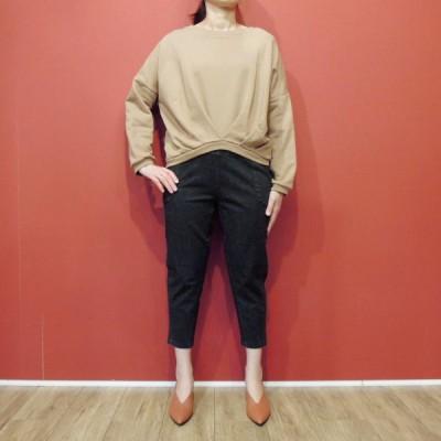 イタリア製 ギャザー裾ヘムショート丈スウェット レディース キャメル モカブラウン トレーナー M 新品 未使用 海外 ブランド