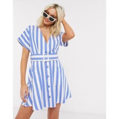 ムーンリバー Moon River レディース ワンピース ミニ丈 ワンピース・ドレス Belted Mini Dress In Blue Stripe ブルーストライプ