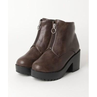 ブーツ 厚底フロントジップ美脚ブーツ