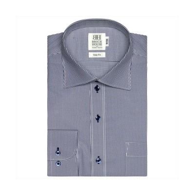 (BRICKHOUSE/ブリックハウス)ワイシャツ長袖形態安定 ワイド ネイビー系 スリム/メンズ ブルー