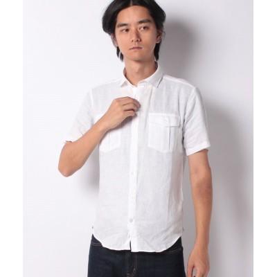 【オールドイングランド】 フレンチリネンシャツ メンズ 白 M OLD ENGLAND