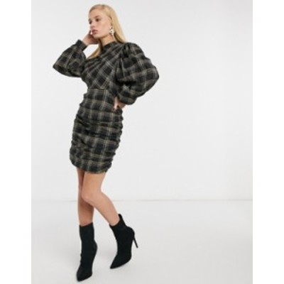 エイソス レディース ワンピース トップス ASOS DESIGN high neck tuck sleeve mini dress in check Black/green check