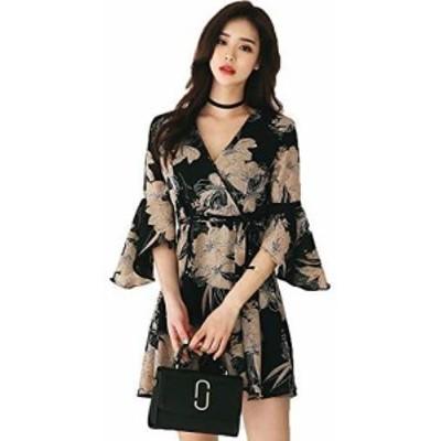 [ミラココ] カシュクール ワンピース ミニ 黒 セクシー ワンピ 花柄 レディース きれいめ お呼ばれ ドレス 大きいサイズ チュニック シフ