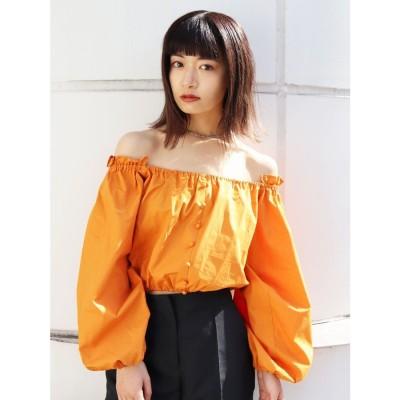 EMODA オフショルダータイトトップス(オレンジ)