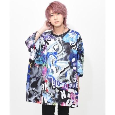 tシャツ Tシャツ 『TRAVAS TOKYO/トラバス トーキョー』Chaotic art2 Super BIG Tee/総柄プリント BIG Tシ