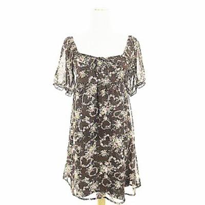 【中古】リズリサ LIZ LISA ワンピース ミニ 半袖 花柄 リボン 0 茶色 ブラウン /AAM18 レディース