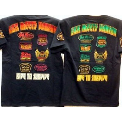 ローブローナックル  vansonコラボ 半袖Tシャツ ワッペンロゴ刺繍  vanson leather×LOW BLOW KNUCKLE
