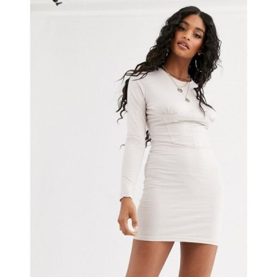 ミスガイデッド Missguided レディース ボディコンドレス タイト ミニ丈 ワンピース・ドレス bodycon corset detail mini dress in beige ベージュ