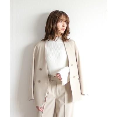 White Collection / 【2021SS】BRERAポプリン・ストライプ&無地・ダブルジャケット WOMEN ジャケット/アウター > テーラードジャケット