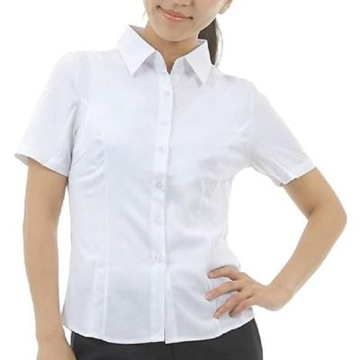 半袖 ブラウス シャツ レディース yシャツ 白 前開き 襟付き ホワイト Lサイズ(ホワイト, L)