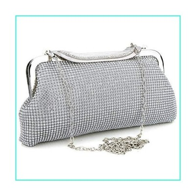 【新品】Elegant Evening Party Clutch Handbag Bling Shiny Sparkly Rhinestone Wedding Purse for Women (Silver)(並行輸入品)
