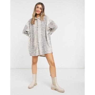 エイソス ミニドレス レディース ASOS DESIGN mini fluffy shirt dress in natural snake print エイソス ASOS