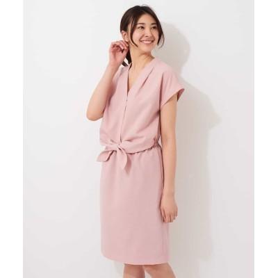 【オフオン】 リネンライクデザインワンピース レディース ピンク M OFUON
