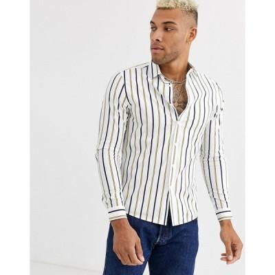 エイソス ワークシャツ メンズ ASOS DESIGN skinny stripe shirt in white エイソス ASOS ホワイト 白