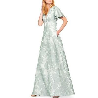アイダンマットックス レディース ワンピース トップス V-Neck Flutter Sleeve Floral Jacquard Ball Gown with Pockets