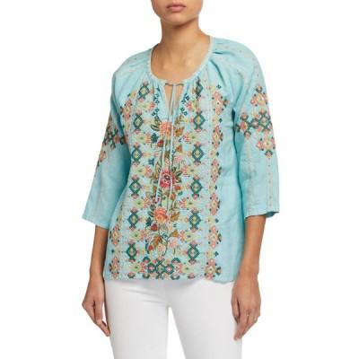 ジョニーワズ レディース シャツ トップス Chandra Embroidered Linen Peasant Blouse