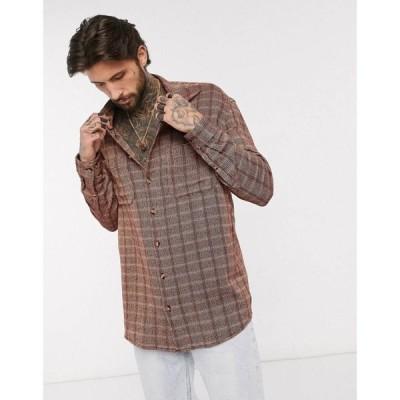 エイソス ASOS DESIGN メンズ シャツ トップス oversized textured shirt in burgundy バーガンディ