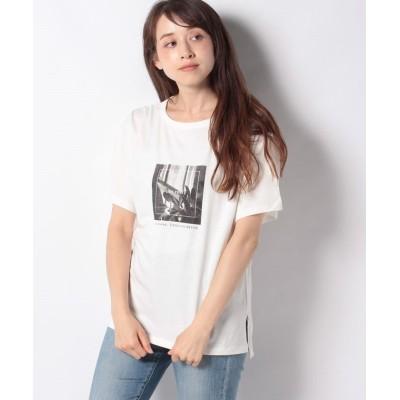 (Green Parks/グリーンパークス)モノトーンプリントTシャツ/レディース オフホワイト