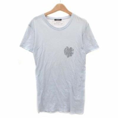 【中古】バルマン BALMAIN Tシャツ カットソー クルーネック プリント 半袖 コットン グレー XS IBS88 メンズ