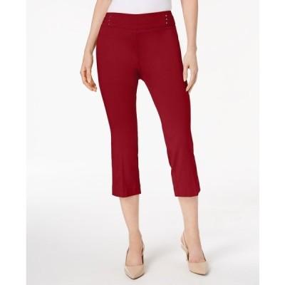 ジェイエムコレクション カジュアルパンツ ボトムス レディース Embellished Pull-On Capri Pants New Red Amore