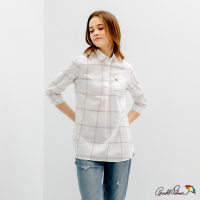 Arnold Palmer -女裝-細條大格紋長版襯衫-白色