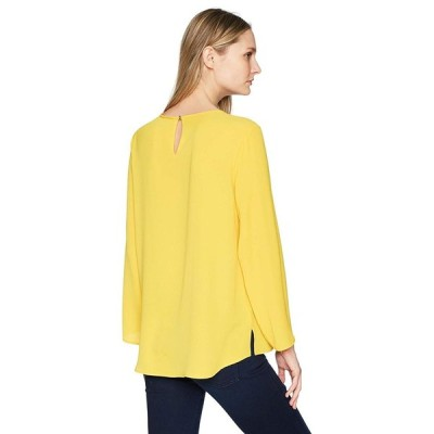 Chaus Women's L/s Hammered Crepe Pintuck Front Blouse, 730-Honeycomb,