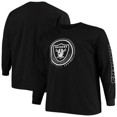 ファナティクス ブランデッド メンズ Tシャツ トップス Las Vegas Raiders Fanatics Branded Big & Tall Color Pop Long Sleeve T-Shirt Black