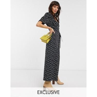 リクレイム ヴィンテージ レディース ワンピース トップス Reclaimed Vintage inspired polka dot  jumpsuit with wrap front in black