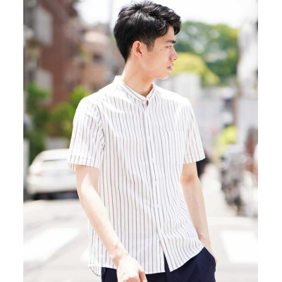 【アー・ヴェ・ヴェ】 ストライプバンドカラーシャツ メンズ ホワイト M a.v.v